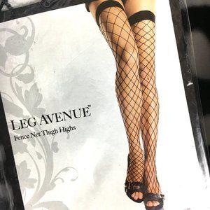 #9014 Leg Avenue Blk Fence Net Thigh High NWT NOS